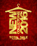 New collections 2016 fashion banner, total sale collections 2015, golden mosaic text hang on a hanger. New collections 2016 fashion banner, total sale Stock Images