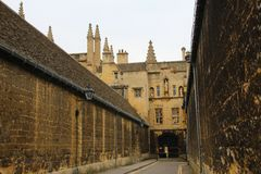 New College Lane, Oxford. College gate at historic New College Lane in central Oxford, England Stock Images