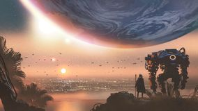 A new colony in the alien planet. Journey concept showing a man with robot looking at a new colony in the alien planet, digital art style, illustration painting vector illustration