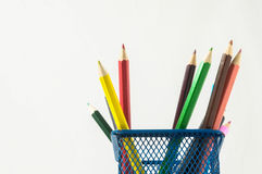 New Colored Pencils in the Box Container Stock Photo