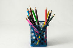 New Colored Pencils in the Box Container Royalty Free Stock Image