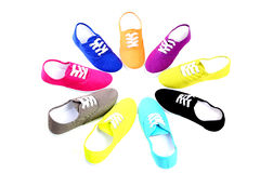 New colorful canvas shoes in a circular design Royalty Free Stock Images