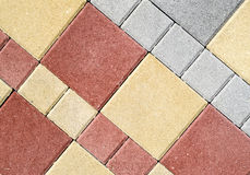 New colorful concrete blocks for paving of streets Royalty Free Stock Image