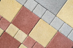 New colorful concrete blocks for paving of streets Royalty Free Stock Photography