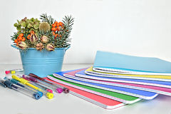 New, colorful school supplies Royalty Free Stock Photos