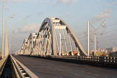 New combined road-railway bridge in Kyiv Stock Images