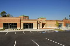 New Commercial Building. Newly constructed commercial building available for lease stock photography