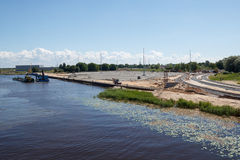 New commercial dock construction Stock Photo