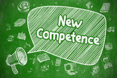 New Competence - Cartoon Illustration on Green Chalkboard. Royalty Free Stock Photography