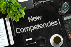 New Competencies on Black Chalkboard. 3D Rendering. Royalty Free Stock Images