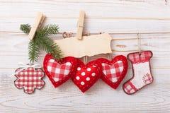 New composition of the toys handmade Christmas Stock Photos