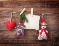 New composition of the toys handmade Christmas tree stock photos
