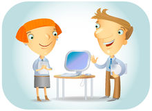 New Computer. Illustration of two business partners talking about a new model of computer in the office Royalty Free Stock Images