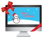 New Computer Christmas Gift Vector Illustration Royalty Free Stock Photography