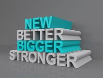 New concept. A concept image with the words new better bigger and stronger Royalty Free Stock Image