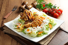 A new concept of eating salads crispy and spicy fried squid with Royalty Free Stock Photo