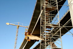 New concrete bridge constructi. A new bridge  soon finished Royalty Free Stock Photo