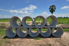 New concrete culvert stock. With beautiful nature Royalty Free Stock Photos