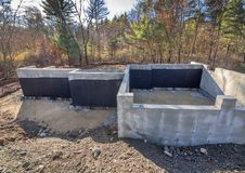 New concrete house foundation with waterproofing Stock Photography