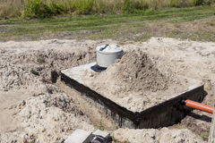 New concrete septic tank. Construction site Stock Photos
