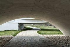 New concrete Zamota bridge and grass garden. Modern bridge medieval city Zamora concrete and grass garden park Stock Image