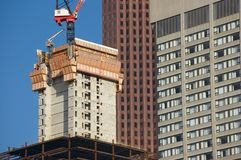 New constraction. Against modern downtown buildings Royalty Free Stock Image