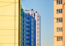 New-constructed multi-storey residential building. Royalty Free Stock Images