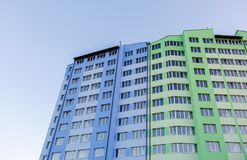 New-constructed multi-storey residential building. Stock Photography