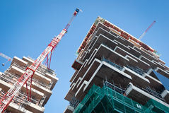 New construction. Building under construction in a new residential area of Milan Stock Images