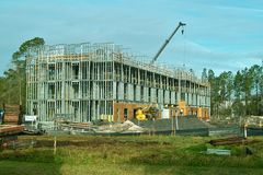 New Construction. A new hotel being constructed in a booming vacation area royalty free stock image