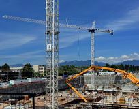 New Construction on the Background of Mountain View Stock Photo