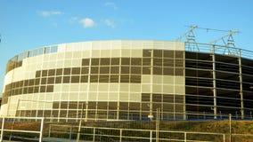 New construction in Düsseldorf. Vodafone Campus Düsseldorf complex structures -  installation of parking garage Royalty Free Stock Photos