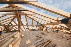 New construction details - framing installing the roof truss system Royalty Free Stock Photography