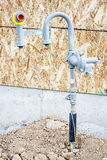New construction gas meter hookup. Natural gas meter tie in Royalty Free Stock Photography