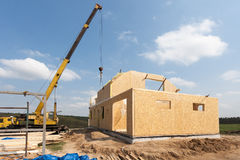 New construction of a house/Framed New Construction of a House/Building a new house from the ground up. Royalty Free Stock Image