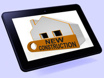 New Construction House Tablet Means Brand New Home Or Building. New Construction House Tablet Meaning Brand New Home Or Building vector illustration
