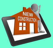 New Construction House Tablet Shows Newly Built Property Royalty Free Stock Images