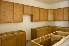 New Construction of Kitchen Interior Stock Photography