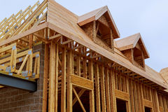 Free New Construction Of A House Framed New Construction Stock Image - 92748981