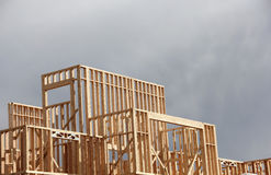 New Construction Open Frame Building background Stock Photo