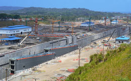 New Construction Site of The Panama Canal Expansion. This overview of the construction site of the Panama Canal expansion project shows two gates that will move Stock Photos