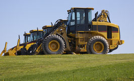 New construction tractors. At dealer Royalty Free Stock Images
