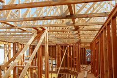 New Construction Wood Home Framing Abstract. Stock Images