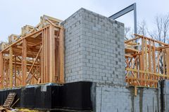 New Construction Wood Home Framing Abstract. Royalty Free Stock Images