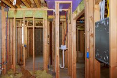 New Construction Wood Home Framing Abstract. Stock Image