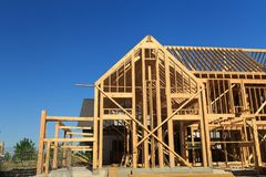 Free New Construction Wood House Framing, Texas Royalty Free Stock Photography - 114510167
