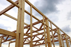 New construction of a wooden house Stock Photography