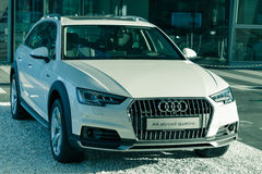 New contemporary A4 allroad quattro sports 4x4 SUV from Audi. Munich, Germany - May 6, 2016: New contemporary A4 allroad quattro sports 4x4 SUV from Audi royalty free stock images