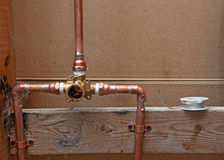 New Copper Pipes for Shower Royalty Free Stock Photos