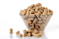 New corks in a bowl. A lot of new corks in a bowl Royalty Free Stock Photography